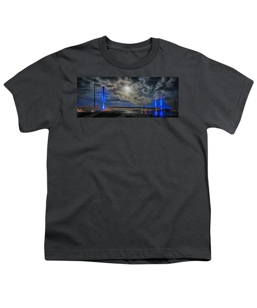 Indian River Bridge Moonlight Panorama Youth T-Shirt