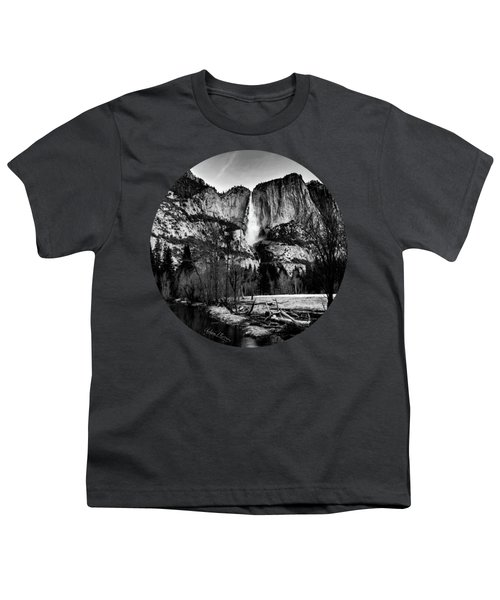 King Of Waterfalls, Black And White Youth T-Shirt by Adam Morsa