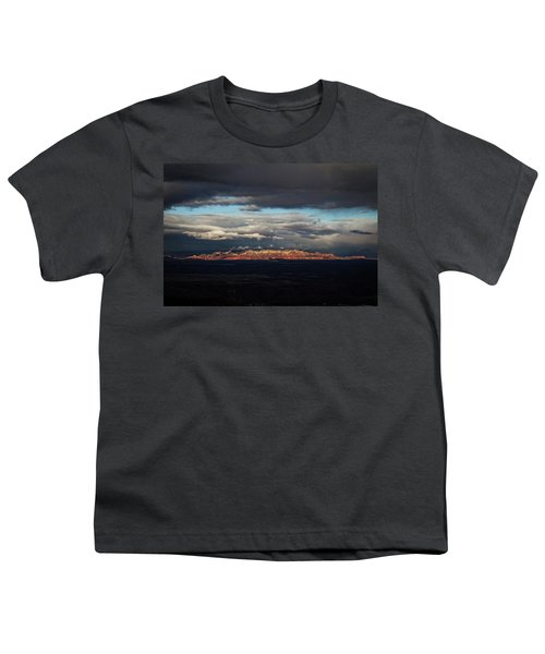 Late Light On Red Rocks With Storm Clouds Youth T-Shirt