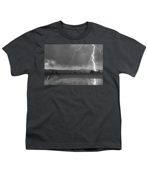 Lightning Striking Longs Peak Foothills 5bw Youth T-Shirt
