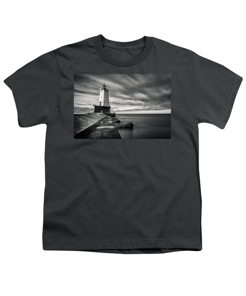 Youth T-Shirt featuring the photograph Ludington Light Black And White by Adam Romanowicz