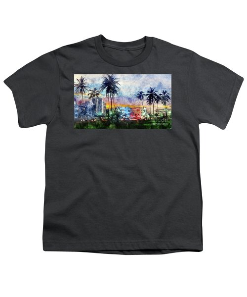 Miami Beach Watercolor Youth T-Shirt by Jon Neidert