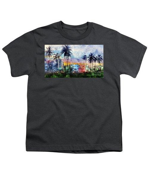 Miami Beach Watercolor Youth T-Shirt