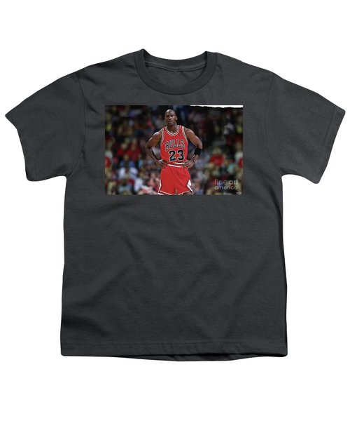 Michael Jordan, Number 23, Chicago Bulls Youth T-Shirt by Thomas Pollart