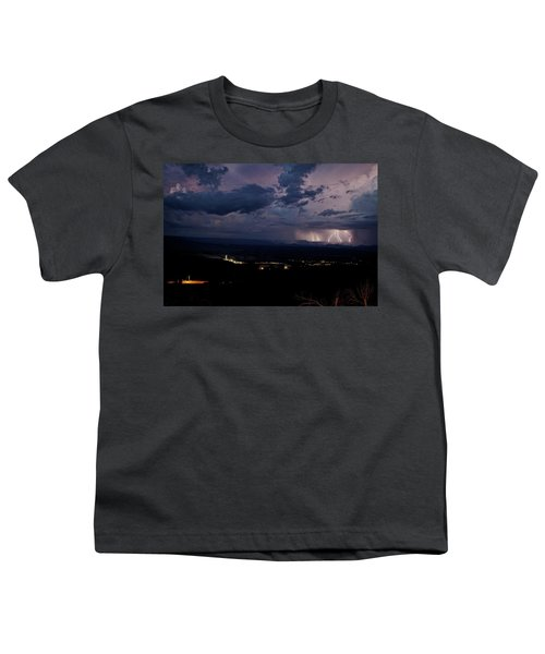 Monsoon Lightning Over Sedona From Jerome Az Youth T-Shirt