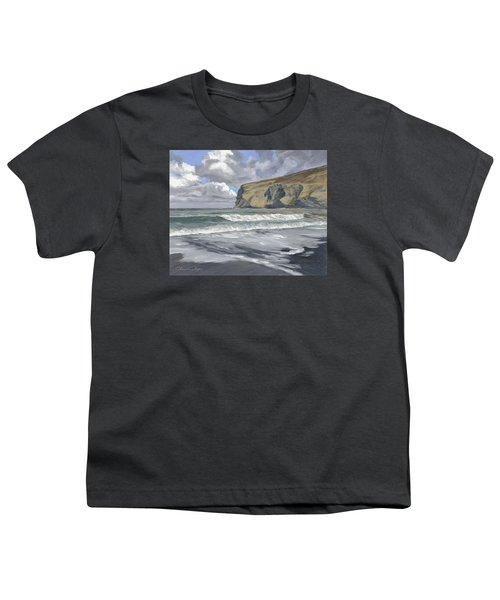 Youth T-Shirt featuring the painting Morning Light On Pencannow Point by Lawrence Dyer