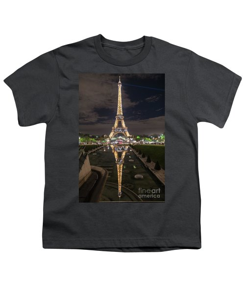 Paris Eiffel Tower Dazzling At Night Youth T-Shirt by Mike Reid