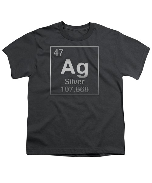 Periodic Table Of Elements - Silver - Ag - Silver On Silver Youth T-Shirt