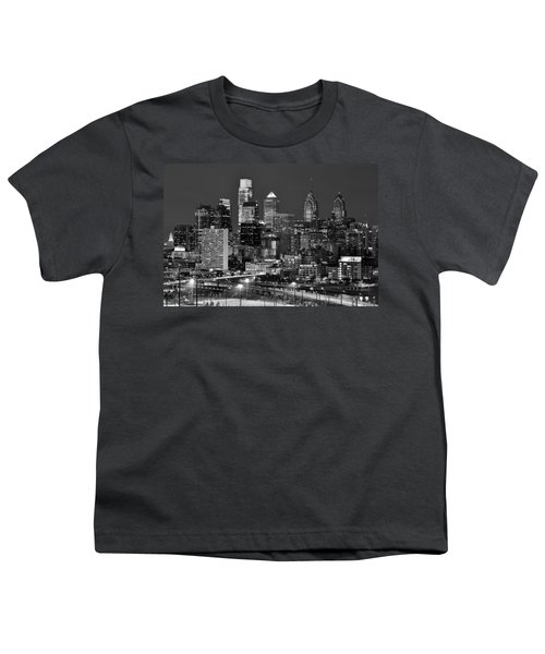 Philadelphia Skyline At Night Black And White Bw  Youth T-Shirt by Jon Holiday