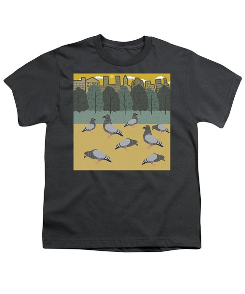 Pigeons Day Out Youth T-Shirt by Nicole Wilson