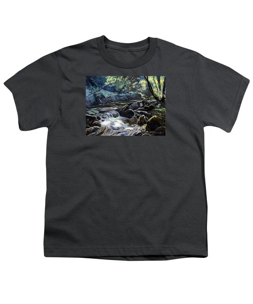 Youth T-Shirt featuring the painting River Taw Sticklepath by Lawrence Dyer