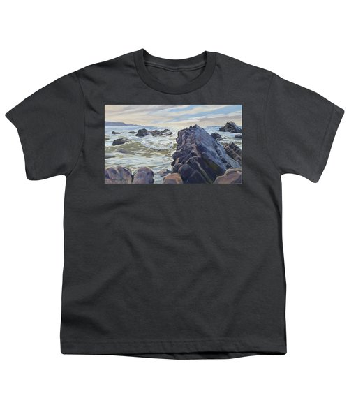 Youth T-Shirt featuring the painting Rocks At Widemouth Bay, Cornwall by Lawrence Dyer