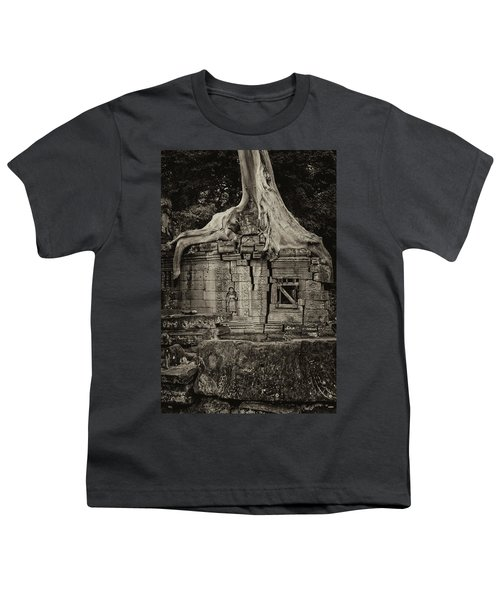 Youth T-Shirt featuring the photograph Roots In Ruins 5, Ta Prohm, 2014 by Hitendra SINKAR