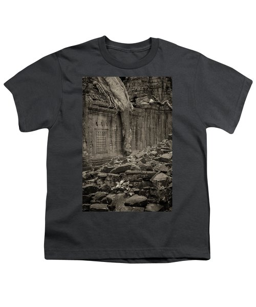 Youth T-Shirt featuring the photograph Roots In Ruins 6, Ta Prohm, 2014 by Hitendra SINKAR