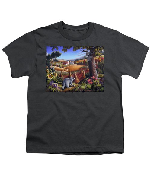 Rural Country Farm Life Landscape Folk Art Raccoon Squirrel Rustic Americana Scene  Youth T-Shirt