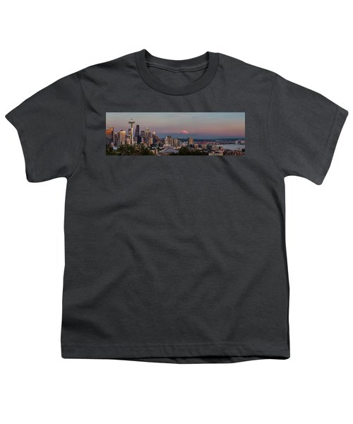 Youth T-Shirt featuring the photograph Seattle Skyline And Mt. Rainier Panoramic Hd by Adam Romanowicz