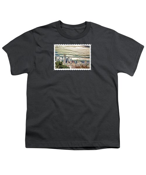 Seattle Skyline In Fog And Rain Youth T-Shirt by Elaine Plesser