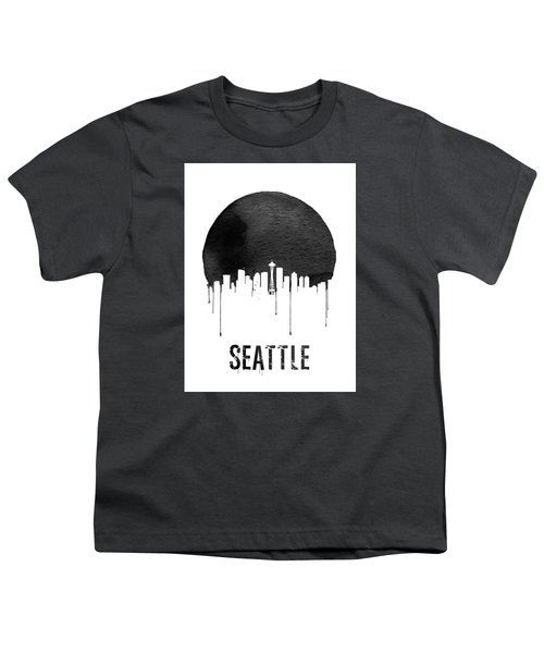 Seattle Skyline White Youth T-Shirt by Naxart Studio