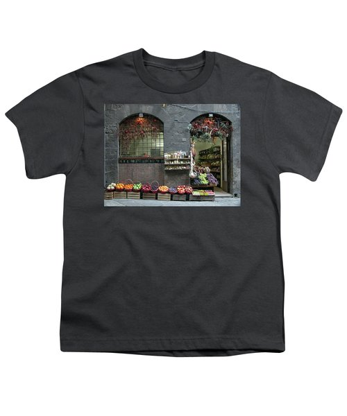 Youth T-Shirt featuring the photograph Siena Italy Fruit Shop by Mark Czerniec