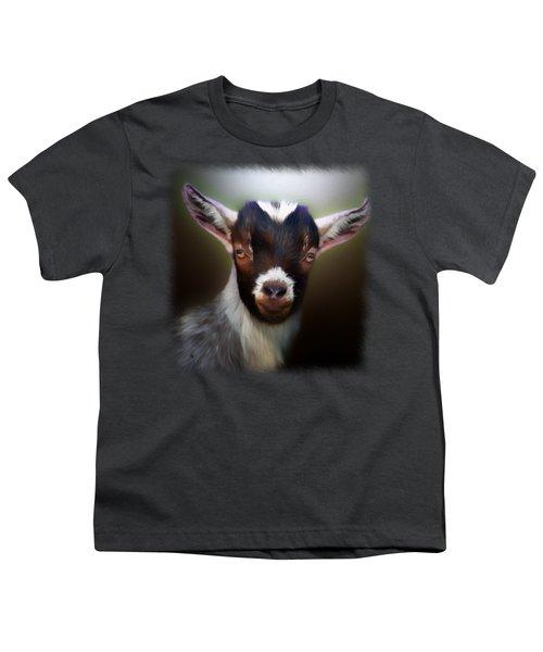 Skippy - Goat Portrait Youth T-Shirt by Linda Koelbel