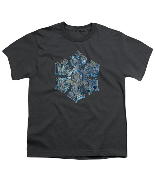 Youth T-Shirt featuring the photograph Snowflake Photo - Silver Foil by Alexey Kljatov