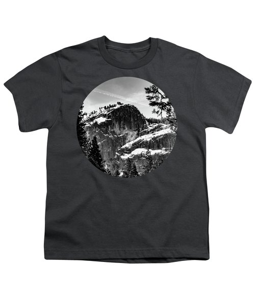 Snowy Sentinel, Black And White Youth T-Shirt