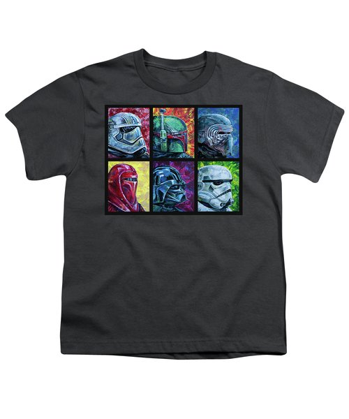 Youth T-Shirt featuring the painting Star Wars Helmet Series - Collage by Aaron Spong