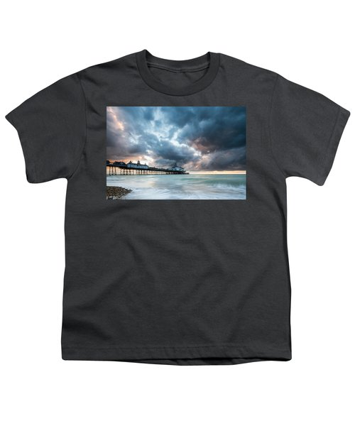 Stormy Sunrise Over Eastbourne Pier Youth T-Shirt