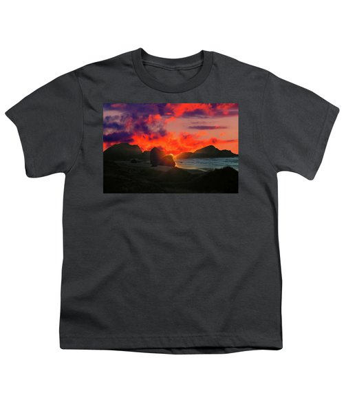 Sunset At Oregon Beach Youth T-Shirt