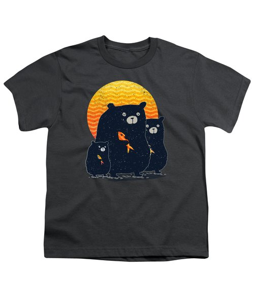 Sunset Bear Family Youth T-Shirt by Illustratorial Pulse