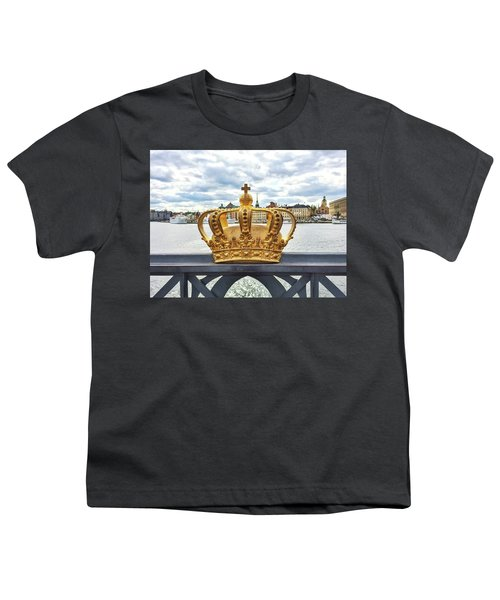 Swedish Royal Crown On A Bridge In Stockholm Youth T-Shirt by GoodMood Art