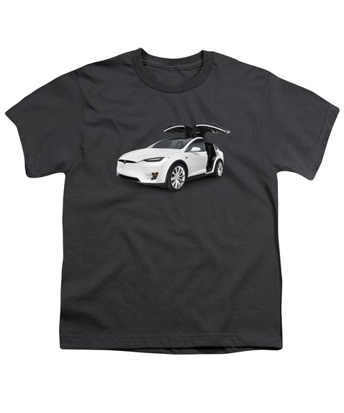 Tesla Model X Luxury Suv Electric Car With Open Falcon-wing Doors Art Photo Print Youth T-Shirt by Oleksiy Maksymenko