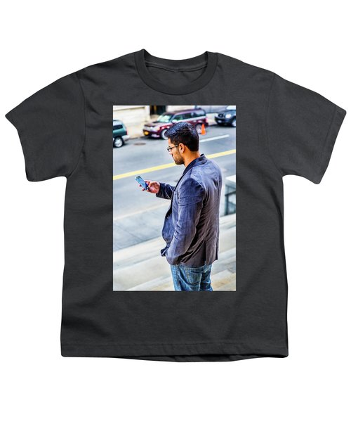 Man Texting Youth T-Shirt