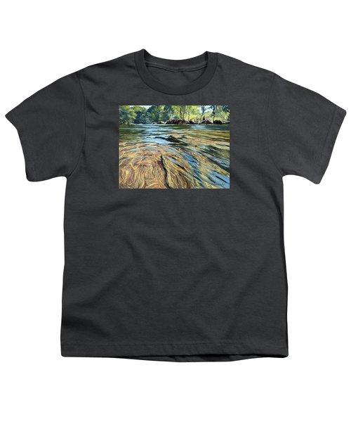 Youth T-Shirt featuring the painting The East Dart River Dartmoor by Lawrence Dyer