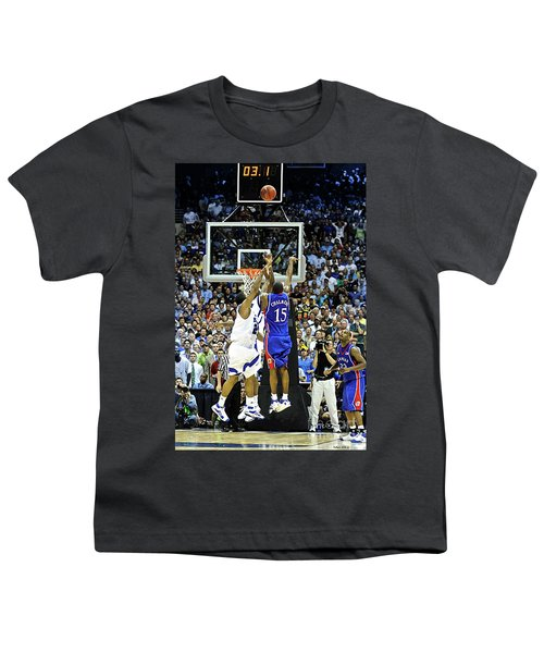 The Shot, 3.1 Seconds, Mario Chalmers Magic, Kansas Basketball 2008 Ncaa Championship Youth T-Shirt by Thomas Pollart