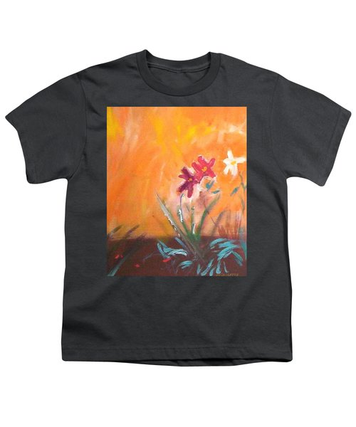 Youth T-Shirt featuring the painting The Three Daisies by Winsome Gunning