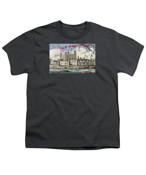 The Tower Of London Seen From The River Thames Youth T-Shirt by English School