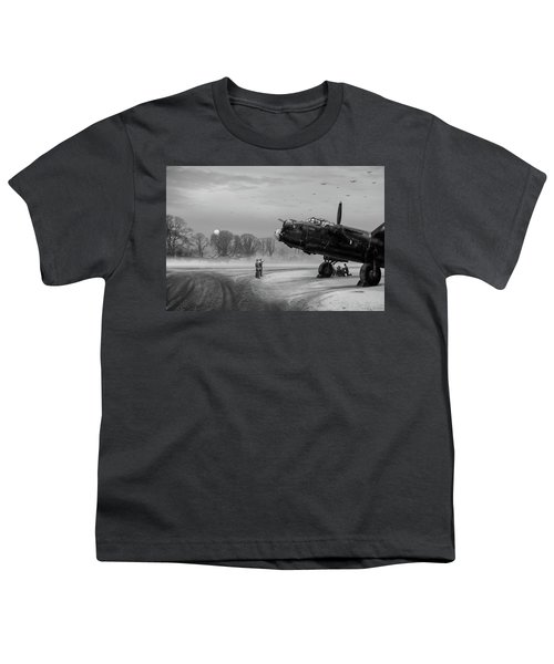 Youth T-Shirt featuring the photograph Time To Go - Lancasters On Dispersal Bw Version by Gary Eason