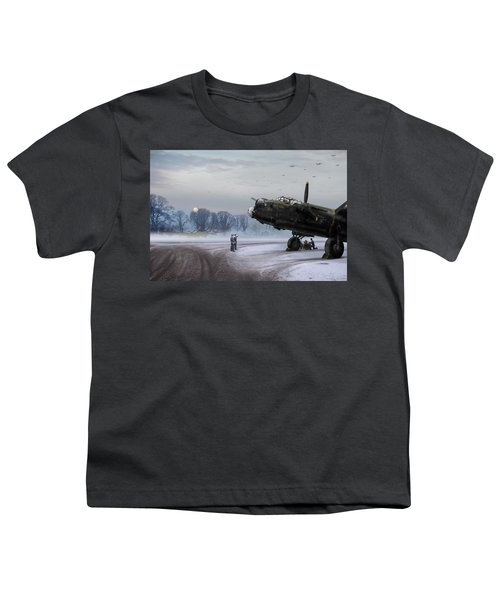 Youth T-Shirt featuring the photograph Time To Go - Lancasters On Dispersal by Gary Eason
