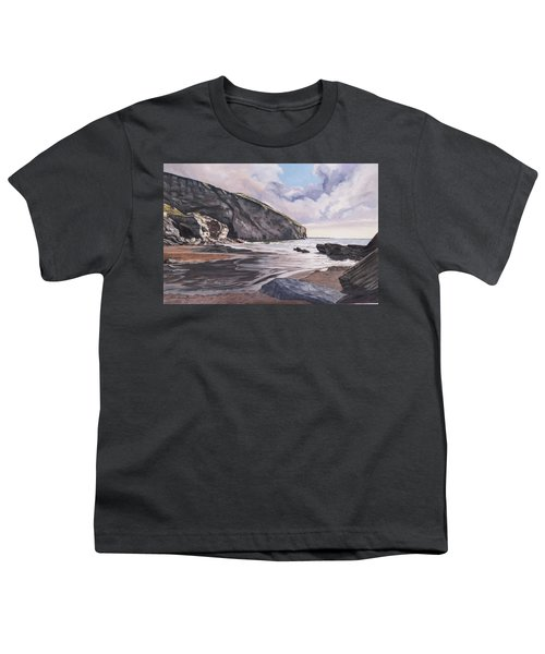 Youth T-Shirt featuring the painting Trebarwith Strand by Lawrence Dyer