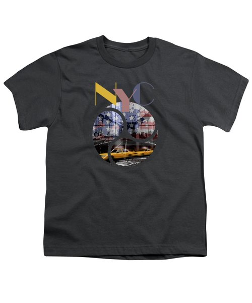Trendy Design New York City Geometric Mix No 2 Youth T-Shirt by Melanie Viola