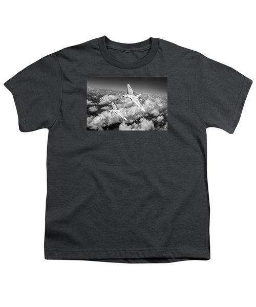 Youth T-Shirt featuring the photograph Two Avro Vulcan B1 Nuclear Bombers Bw Version by Gary Eason