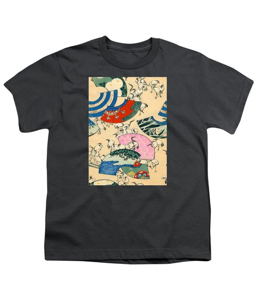 Vintage Japanese Illustration Of Fans And Cranes Youth T-Shirt