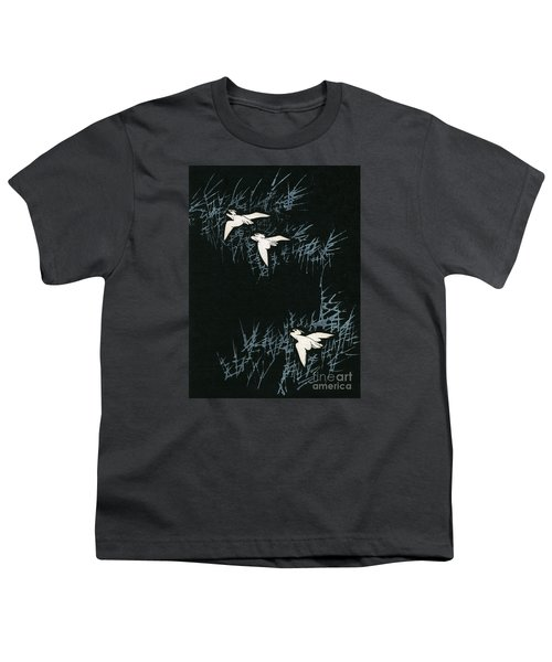 Vintage Japanese Illustration Of Three Cranes Flying In A Night Landscape Youth T-Shirt