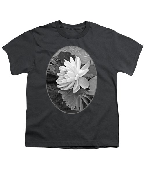 Water Lily Reflections In Black And White Youth T-Shirt