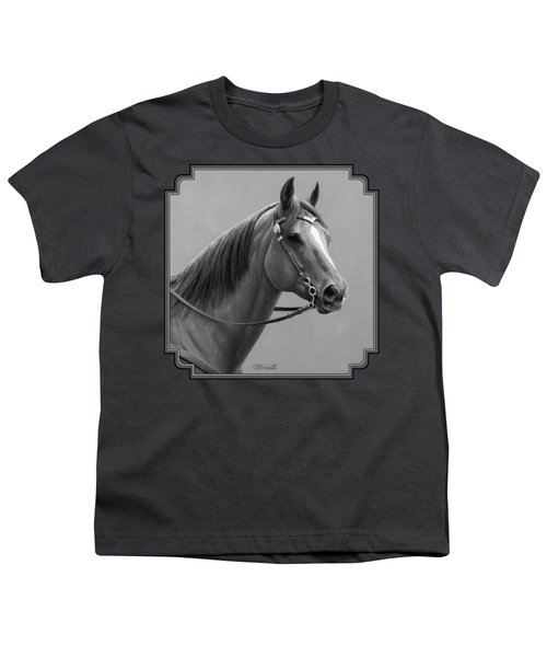 Western Quarter Horse Black And White Youth T-Shirt by Crista Forest