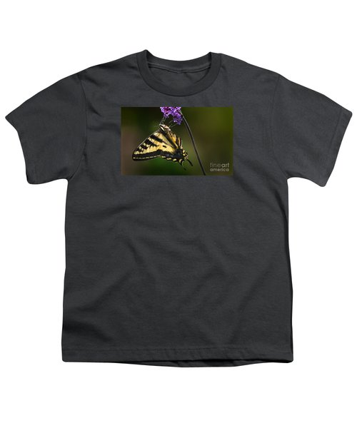 Western Tiger Swallowtail Butterfly On Purble Verbena Youth T-Shirt