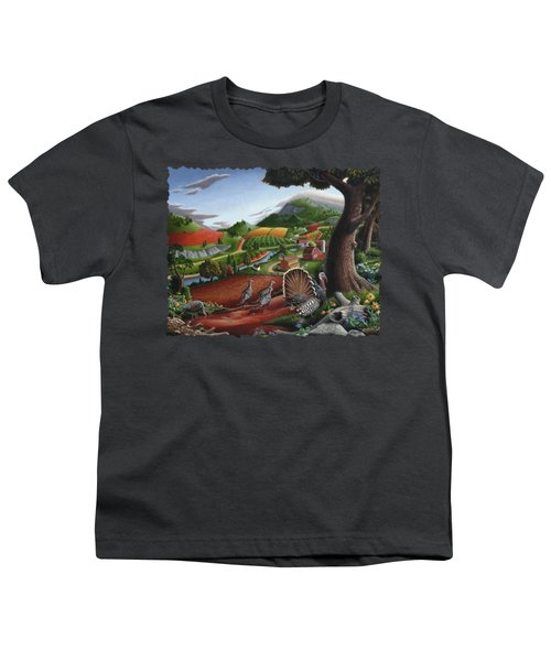 Wild Turkeys Appalachian Thanksgiving Landscape - Childhood Memories - Country Life - Americana Youth T-Shirt by Walt Curlee