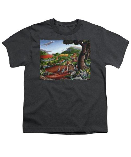 Wild Turkeys Appalachian Thanksgiving Landscape - Childhood Memories - Country Life - Americana Youth T-Shirt