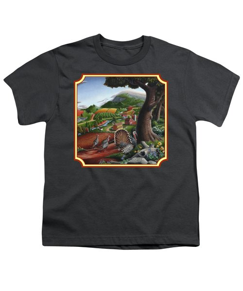 Wild Turkeys In The Hills Country Landscape - Square Format Youth T-Shirt
